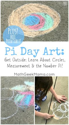 Explore circles, circle measurements and the number pi with this fun, yet super simple Pi Day Art Project! Includes a free recording page to measure and analyze your circles. Art Therapy Projects, Art Therapy Activities, Art Projects, School Projects, Educational Activities For Kids, Holiday Activities, Learning Activities, Outdoor Activities, Math For Kids