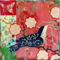 """Kathe Fraga paintings, inspired by vintage French wallpaper and the colorful patterns of 17th and 18th Chinoiserie. (""""Love Song I"""", 12x12, acrylic on frescoed canvas.) www.kathefraga.com (copyright 2014)"""