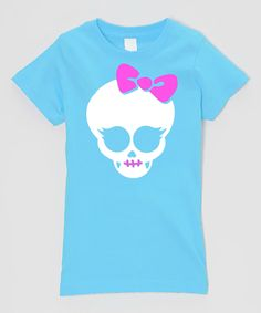 Aqua  & White Neon Skull Fitted Tee - Infant, Toddler & Girls by Micro Me #zulily #zulilyfinds