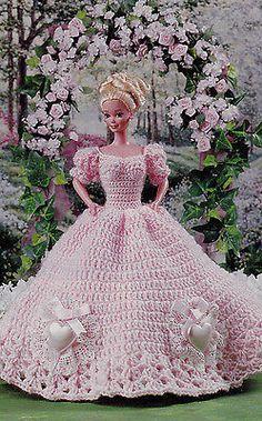 doll dress patterns Crochet Pattern Only ~ Barbies Sweetheart Ball Gown, Heart Motif ~ Fashion Doll Crochet Barbie Clothes, Crochet Dolls, Crochet Baby Beanie, Doll Dress Patterns, Barbie Style, Barbie Dress, Barbie Costume, Crochet Slippers, Crochet Fashion