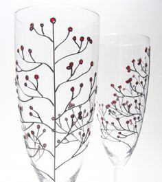 Winter Wedding Champagne Flutes, Red Berries, New Year's Eve | Hand Painted Wine Glasses | Wedding Champagne Flutes and Ring Dishes | Decouverre Glassware