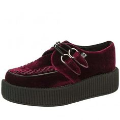 Viva High Burgundy Velvet Creepers (300 BRL) ❤ liked on Polyvore featuring  shoes,