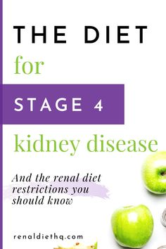 Want to learn more about the kidney disease diet stage 4 ? In this post, you'll learn which diet you should follow for stage 4 kidney disease and the renal diet restrictions you should follow. In addition to learning which foods to avoid, you'll learn what food to eat for stage 4 renal failure.  | Chronic Kidney Disease Diet | Kidney Disease Diet tips #KidneyDiseaseDiet #RenalDiet #ChronicKidneyDisease #KidneyDisease #KidneyFailure