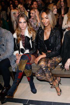 Cara Delevingne and Jourdan Dunn at Burberry Prorsum, London Fashion Week Fall 2015.