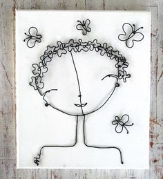 wire on canvas board or wire frame flower girl b .- wire on canvas board or frame wire flower girl by Alex Landa - Wire Crafts, Metal Crafts, Diy And Crafts, Arts And Crafts, Stylo 3d, Wire Wall Art, Wire Flowers, Flower Frame, Cool Ideas