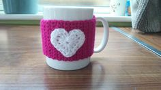 Heart crochet mug warmers / mug cosy !  https://www.facebook.com/crochetbyalice