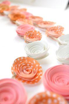Pink - Orange Paper Flower Garland- Party Decorations. $28.00 USD, via Etsy.