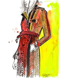 For the love of Burberry, #watercolor and pen fashion illustration by Jessica Durrant. #burberry