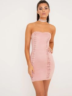 d9cf865a12 Pink Strapless Lace Up Mini Club Dress