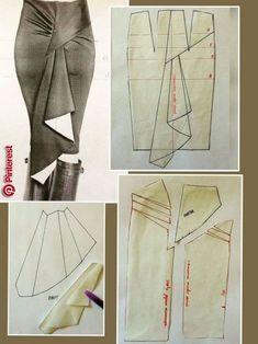 37 Ideas for diy fashion clothing dress costura Dress Sewing Patterns, Clothing Patterns, Pattern Sewing, Skirt Sewing, Sewing Clothes, Diy Clothes, Pattern Draping, Drape Skirt Pattern, Diy Dress