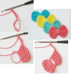 20 Lazos Tejidos a Crochet con Patrones ⋆ Manualidades Y DIYManualidades Y DIY Crochet Butterfly Pattern, Crochet Applique Patterns Free, Crochet Leaves, Crochet Flowers, Crochet Crafts, Crochet Yarn, Top Tejidos A Crochet, Crochet Girls, Crochet For Kids