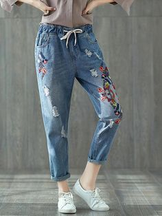 bfdd3a6f3c Vintage Embroidery Women Ripped Jeans Womens Ripped Jeans