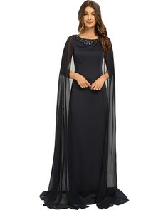 Adrianna Papell - Cape Dress with Neck Beading (Ink) Women's Dress