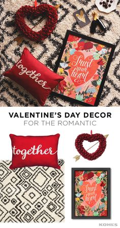 """If you just can't get enough red hearts in your life in February, this romantic Valentine's Day decor Featured product includes: Food Network fontinella beaded 4-piece place setting; Safavieh Belize tribal chevron shag rug; Americanflat """"trust your heart"""" framed wall art; """"together, forever"""" reversible oblong throw pillow; and Celebrate Valentine's Day Together wood curl heart wreath. Show some love this Valentine's"""