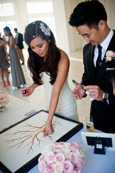 Everyone puts their fingerprint on a tree so cute! Photography By / http://markkuroda.com,Wedding Day Coordination By / http://lemondropteam.com