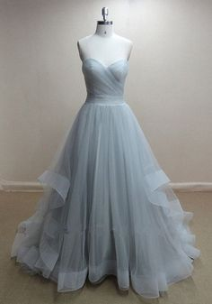 Handmade Grey Tulle Ball Gown Prom Dresses 2015,Grey Prom Dresses, Formal Dresses, Graduation Dresses