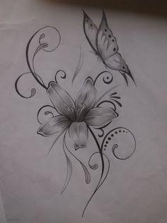 zeichnung - Tattoos - - My best tattoo list Butterfly With Flowers Tattoo, Lily Flower Tattoos, Butterfly Tattoo On Shoulder, Butterfly Tattoo Designs, Feather Tattoos, Shoulder Tattoos, Drawings Of Butterflies, Lilly Tattoo Design, Tribal Butterfly Tattoo