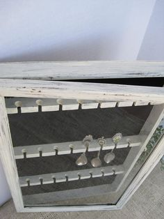 Vintage Shabby Glass Enclosed 24 Spoon Rack Display Wall Case on Etsy, $55.00