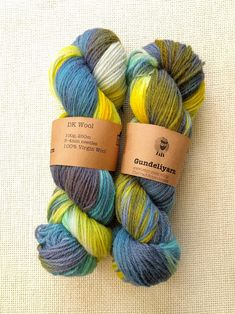 Hand dyed DK weight yarn in shades of blue and yellow - wool yarn - skein - Best Ballpoint Pen, Lace Knitting, Knitting Patterns, Dk Weight Yarn, Sock Yarn, Hand Dyed Yarn, Shades Of Green, Yarns, Throw Pillows