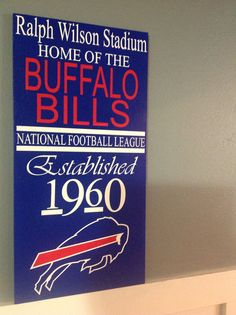 Custom Hand painted Buffalo Bills NFL wood by CreatedForYouOn10th