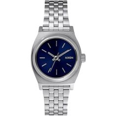 Nixon Small Time Teller Watch ($95) ❤ liked on Polyvore featuring jewelry, watches, blue, water resistant watches, blue watches, crown jewelry, stainless steel jewelry and nixon