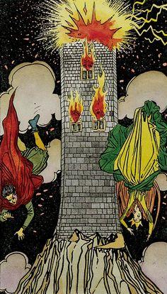 XVI. The Tower: Universal Tarot. - Der Blitz und das Feuer werden auch als Symbol des Orgasmus gedeutet, insofern der Turm u. a. ein männlich-phallisches Symbol darstellt.