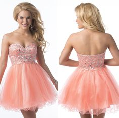 2014 Newest Free Shipping A Line Above Knee Beaded Strapless Cocktail Party Gowns Short Mini Homecoming Dresses for Teens $95.67