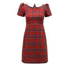 Envy Boutique - Robe Tunique Mini Col Claudine Écossais Carreaux Vintage Femme Neuf - EU 38, Robe écossais rouge
