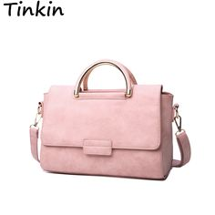 Tinkin New Arrive Women All-match Bag Fashion Nubuck Handbag High Quality  Medium Shoulder Bag Frosting Women Messenger Bag aaf8242edfc10
