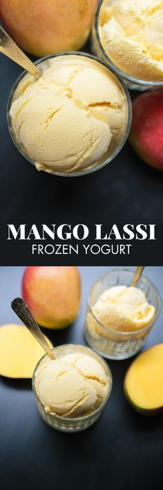 Healthy homemade mango frozen yogurt with all-natural ingredients! cookieandkate.com