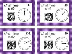 Telling time with QR Codes - Task Cards #math #ipads $