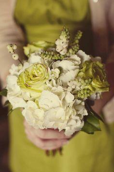 chartreuse dress/greenish bouquet