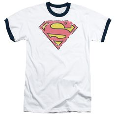 SUPERMAN/DISTRESSED SHIELD - ADULT RINGER - WHITE/NAVY -