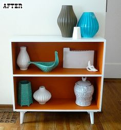 painted bookcase @PuddleDuckie - I thought yo might like to do this to your boookshelf in colors that work there, I like two colors like this