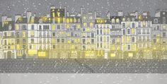 Paris Snow, Paris Winter, Paris Illustration, City Photo, Fine Art, Shop, Prints, Etsy, Vintage