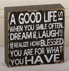 "6"" A Good Life Wood Box Plaque inspirational home decor, inspirational plaques, religious plaques, verse cards, verse plaques, gratitude, grateful, gift of gratitude, attitude of gratitude"