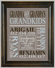 Personalized GRANDPARENT PRINT - with Grandchildren's Names and Birthdates - Completely Customizable - Christmas Gift - Anniversary Gift. $14.00, via Etsy. - Click image to find more Illustrations & Posters Pinterest pins