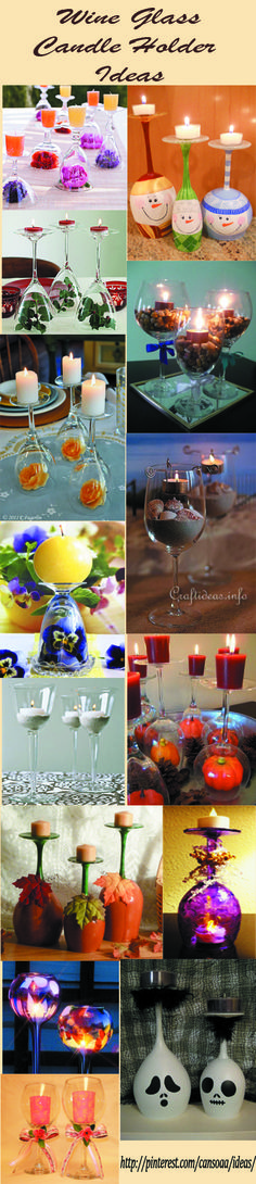 DIY wine glass candle holder ideas