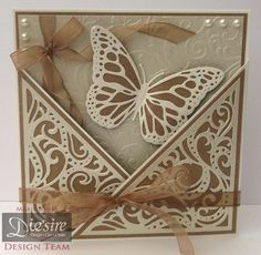 Marie Jones – Crafter's Companion - Die'sire Create-a-card: Bordeaux - Centura Pearl Ivory - Kraft Card - Butterfly Lullaby: Flit and Flutter & Butterfly Dance dies - Butterfly Lullaby: Bijou Butterflies embossing folder - Cut n Boss - Collall Tacky, All Purpose & 3D glue - Other: Pearls, ribbon, glitter card - #crafterscompanion