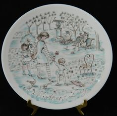 "Vintage Haviland France Mother's Day Collector Plate ""The Park"" 1975 8.5"""
