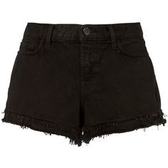 J Brand Women's Sachi Frayed Black Shorts ($148) ❤ liked on Polyvore featuring shorts, bottoms, black, mid rise shorts, mid rise jean shorts, j brand, jean shorts and zipper shorts