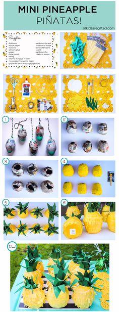 DIY Mini Pineapple Piñatas!!!                                                                                                                                                     Más