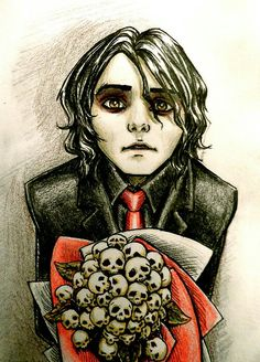 Wicked fan art, Gerard Way, MCR, my chemical romance, bands, music, revenge era, skulls, roses, red, black, guyliner