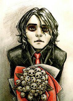 Wicked fan art, Gerard Way, MCR, my chemical romance, bands, music, revenge era, skulls, roses, red, black, guyliner
