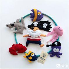 Baby mobile - Pirates Mobile - Nursery mobile - Custom crib mobile - Felt Pirate Octopus Shark Jellyfish Fishes Crab - Completely handmade