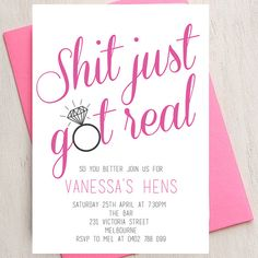 Hens, Bachelorette, Invitation, DIY Printable Invitation, Hens Party, Print at Home, Party, Invite, Shit Just Got Real, Bling, Fun, Unique