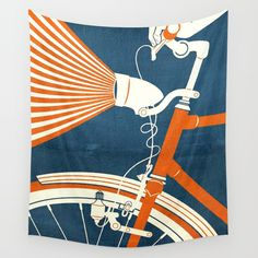 Bicycle Light Wall Tapestry. #painting #digital