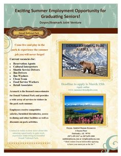 Doyon, Limited and Aramark are recruiting for their summer jobs! If you're interested in working and living in the Denali National Park, this opportunity is for you.  Amber Wright, of Doyon, Limited, will be in the Brooks Gathering Room on Tuesday, February 23, 2016 from 1-2:00pm to tell you about what they have to offer this summer. Be sure to stop by! If you would like information beforehand, feel free to visit www.summerdenalijobs.com