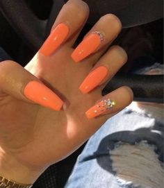 In seek out some nail designs and ideas for your nails? Listed here is our listing of must-try coffin acrylic nails for fashionable women. Orange Acrylic Nails, Long Acrylic Nails, Orange Ombre Nails, Orange Nail Designs, Acrylic Nail Designs, Aycrlic Nails, Fun Nails, Coffin Nails, Pin On