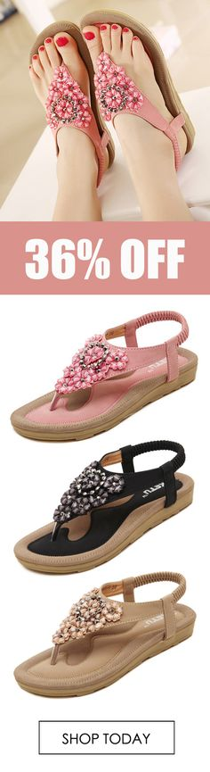442ce757398 US Size 5-10 SOCOFY Women Diamond Bohemian Casual Outdoor Beach Flower Flat  Sandals.  fashion. VirtuallyAnything4Sale · Shoes